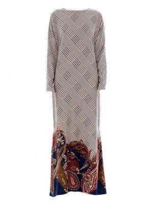 Платье макси трикотажное принт огурцы синее Bella kareema
