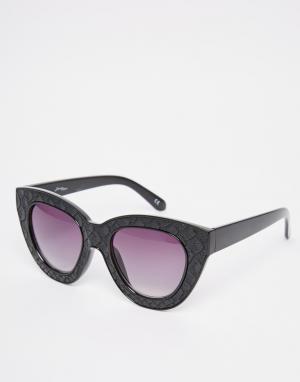 Jeepers Peepers Фактурные солнцезащитные очки кошачий глаз. Цвет: черный
