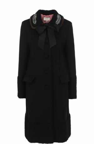 Шерстяной пальто с отделкой из меха норки Gucci. Цвет: черный