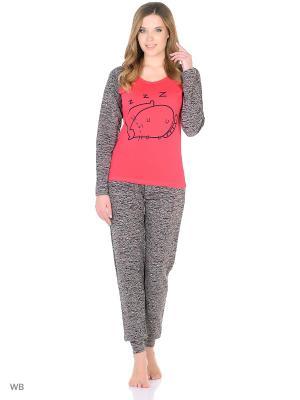 Пижама женская NICOLETTA. Цвет: красный, серо-коричневый