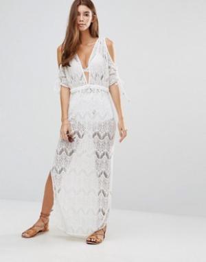 6 Shore Road Кружевное пляжное платье макси. Цвет: мульти