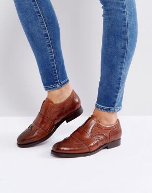 H by Hudson Светло-коричневые кожаные броги-слипоны London Maddie. Цвет: рыжий