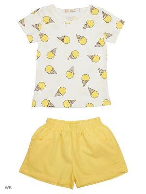 Футболка и шорты HLT. Цвет: белый, желтый