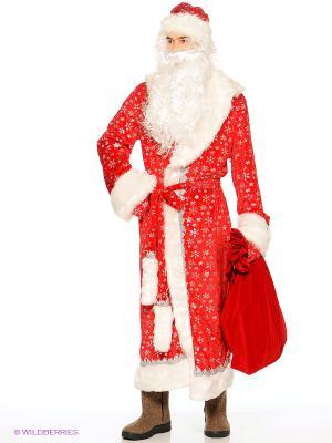 Карнавальный костюм Дед Мороз плюш Батик. Цвет: красный