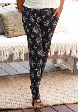 Пляжные брюки Lascana. Цвет: черный/бежевый