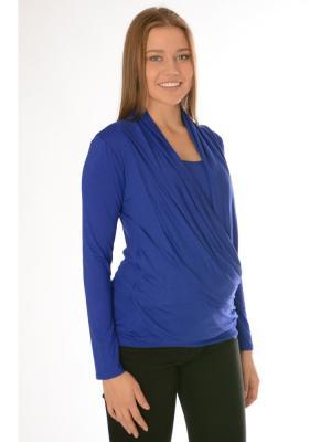Блуза со сложным воротником Ням-Ням. Цвет: синий