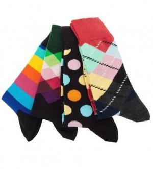 Комплект из четырех пар разноцветных носков Happy Socks. Цвет: черный