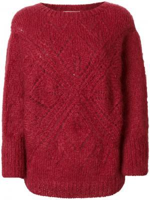 Ажурный свитер Mes Demoiselles. Цвет: красный