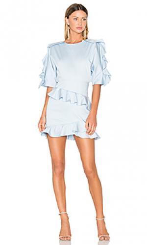 Приталенное и расклешенное мини платье FAME AND PARTNERS. Цвет: нежно-голубой