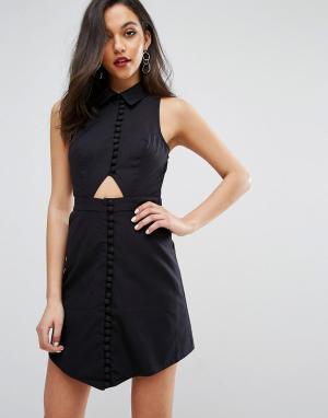 C/meo Collective Платье-рубашка с короткими рукавами Let It Go. Цвет: черный