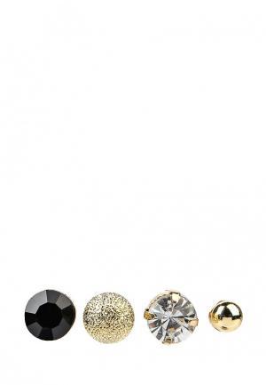 Комплект серег 2 пары Modis. Цвет: золотой