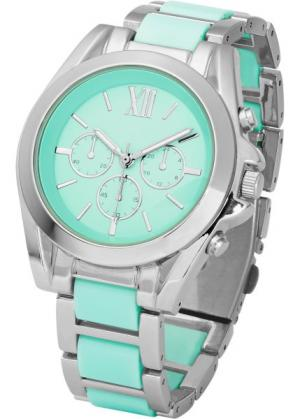 Роскошные наручные часы-хронограф (мятный/серебристый) bonprix. Цвет: мятный/серебристый