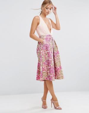 ASOS Юбка для выпускного с винтажным цветочным узором. Цвет: розовый