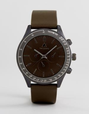 ASOS Большие часы цвета хаки и пушечной бронзы. Цвет: зеленый