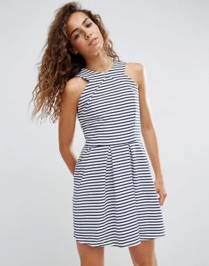 D.RA Короткое приталенное платье в полоску Rosalie. Цвет: синий