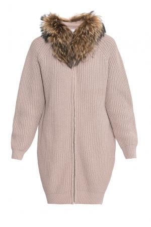 Кардиган из шерсти с отделкой меха енота 177120 Fashion Cashmere. Цвет: розовый