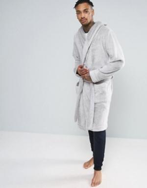 ASOS Серый флисовый халат с капюшоном. Цвет: серый