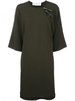 Платье с серебристыми деталями Gianluca Capannolo. Цвет: зелёный