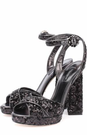 Босоножки с вышивкой пайетками на устойчивом каблуке Dolce & Gabbana. Цвет: черный