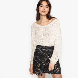 Пуловер без воротника из плотного трикотажа SCHOOL RAG. Цвет: экрю