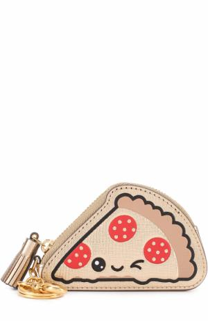 Брелок для сумки Pizza Anya Hindmarch. Цвет: золотой