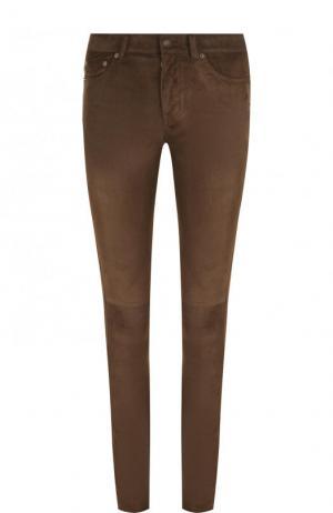 Однотонные замшевые брюки-скинни Saint Laurent. Цвет: коричневый