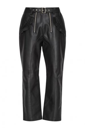 Черные брюки из эко-кожи Self-Portrait. Цвет: черный