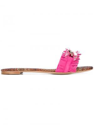 Шлепанцы с бахромой Casadei. Цвет: розовый и фиолетовый