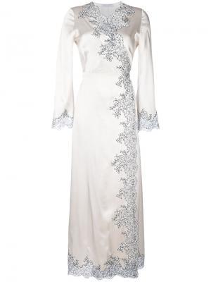 Длинное платье Déshabillé Cache-Coeur Carine Gilson. Цвет: телесный