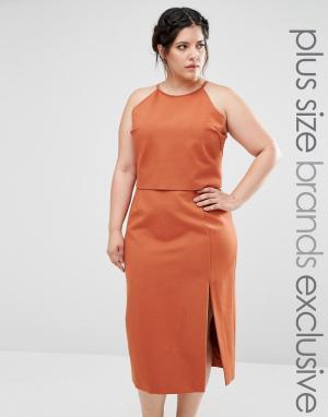 Lavish Alice Plus Двухслойное платье-футляр без рукавов с халтером. Цвет: бежевый