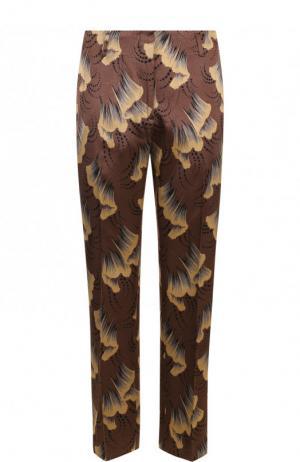Укороченные брюки со стрелками и принтом Dries Van Noten. Цвет: коричневый