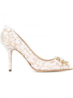 Декорированные туфли из кружева Dolce & Gabbana. Цвет: белый