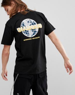 Diamond Supply Черная футболка с принтом Worldwide на спине. Цвет: черный