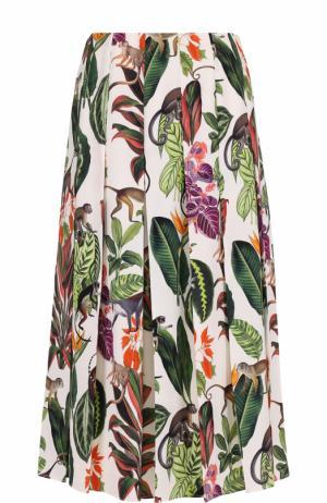 Шелковая юбка в складку с принтом Oscar de la Renta. Цвет: разноцветный