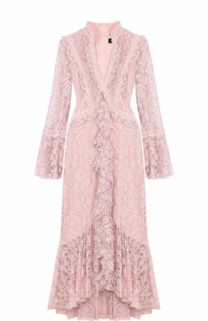Приталенное кружевное платье с оборками и V-образным вырезом Tadashi Shoji. Цвет: светло-розовый