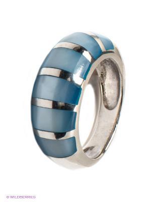 Кольцо с перламутром Infiniti. Цвет: серебристый, синий