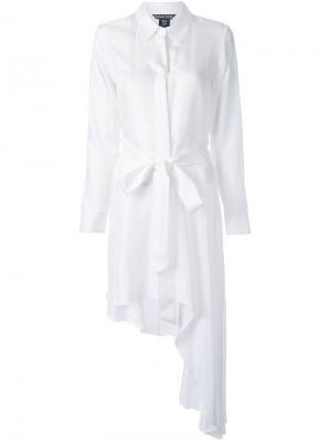 Асимметричное платье-рубашка Thomas Wylde. Цвет: белый