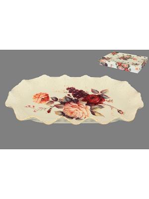 Блюдо бежевое Бархатный нектар Elan Gallery. Цвет: бежевый, красный, розовый