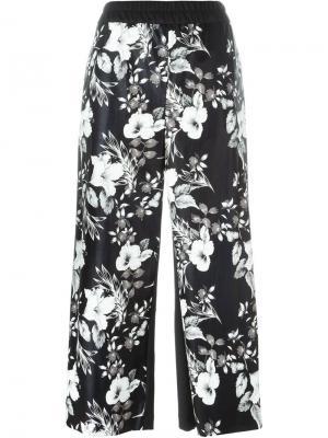 Укороченные брюки с цветочным принтом IM Isola Marras I'M. Цвет: чёрный