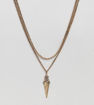 DesignB London 2 ожерелья-цепочки с подвеской эксклюзивно для ASOS. Цвет: серебряный