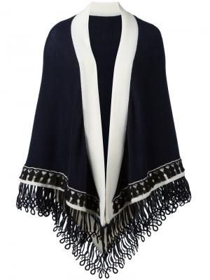 Большой шарф дизайна колор-блок Antonia Zander. Цвет: синий