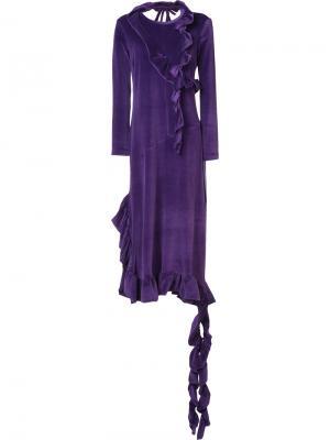 Длинное платье с отделкой из рюшей Barbara Bologna. Цвет: розовый и фиолетовый