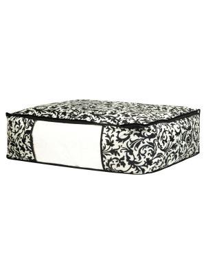 Кофр для хранения одеял и пледов Узор на серебре EL CASA. Цвет: черный, молочный
