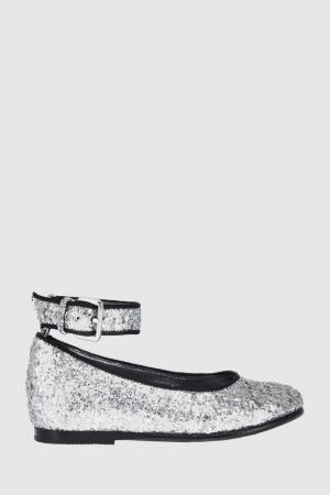 Кожаные туфли Bonpoint. Цвет: серебряный