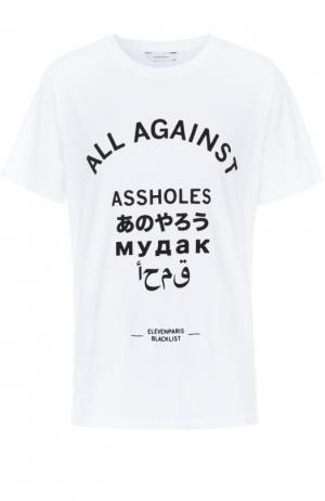 Хлопковая футболка с контрастной надписью Elevenparis. Цвет: белый