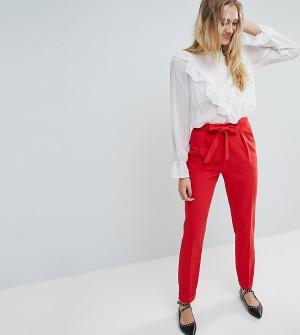 ASOS Tall Тканые брюки галифе с поясом оби. Цвет: красный