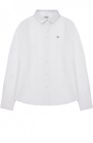 Рубашка из льна с логотипом бренда Giorgio Armani. Цвет: белый
