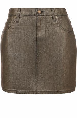 Джинсовая мини-юбка с карманами Saint Laurent. Цвет: золотой