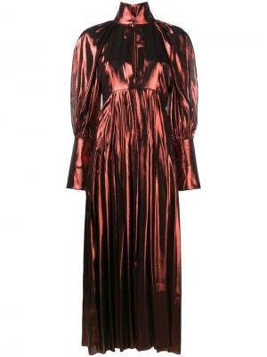 Длинное платье с эффектом металлик Ellery. Цвет: жёлтый и оранжевый