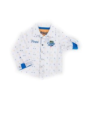 Детская рубашка Pilota. Цвет: синий, желтый, белый